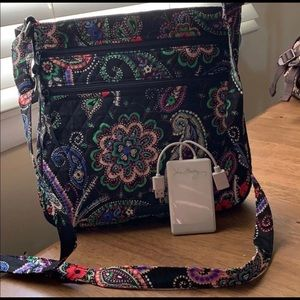 Vera Bradley crossbody with phone charger pack